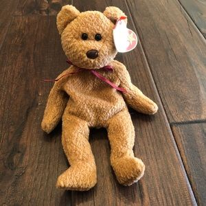 3/$25☀️ Curly Beanie Baby Bear with Tag Errors